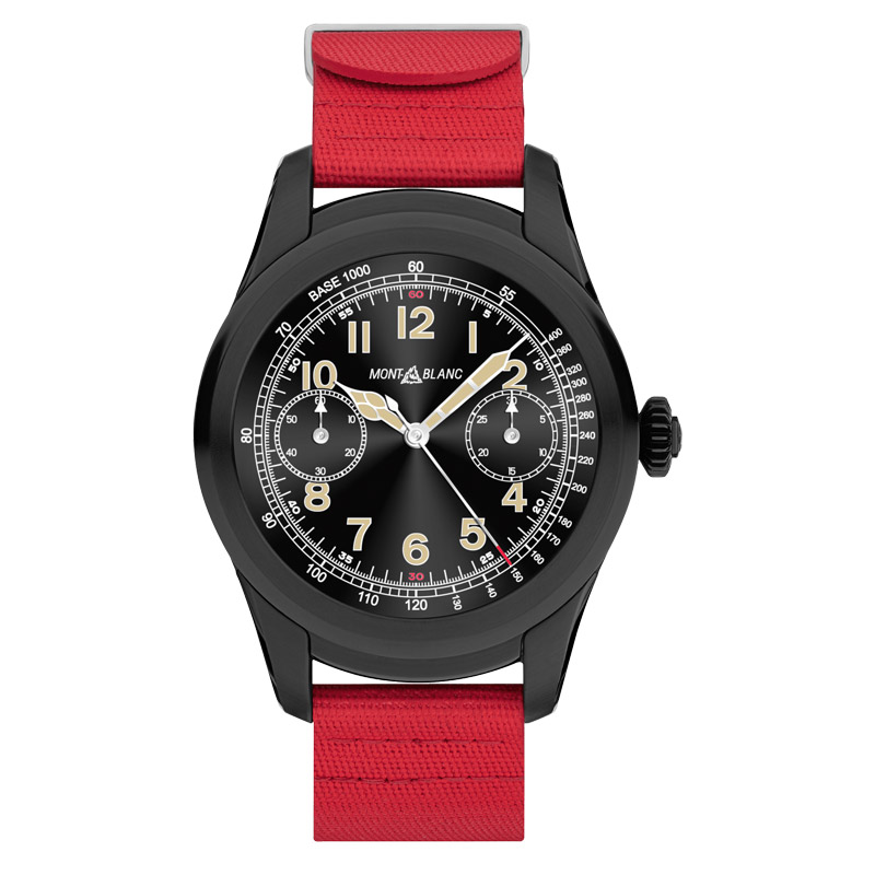 Montblanc Summit Smartwatch - Black Steel Case with Red Rubber Strap
